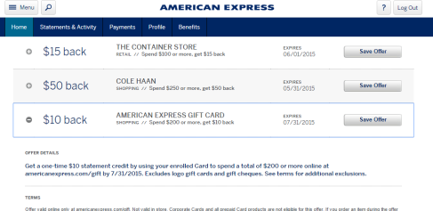 Amex gift card offers