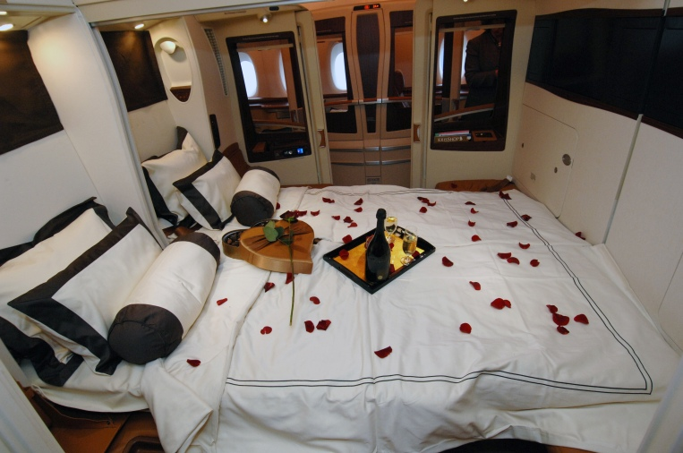 Double bed on board the new Singapore A380 after it arrived at Heathrow. picture David Dyson