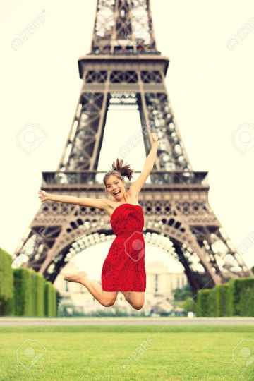 paris happy girl eiffel