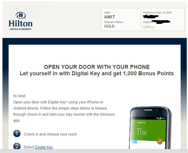 hilton digital key