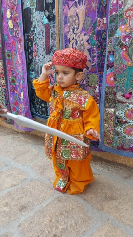 Zane dressed up as traditional warrior, Rajasthan, India